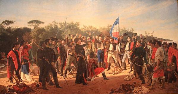 Pintura de Juan Manuel Blanes retratando os 33 orientais, o grupo que declarou a separação da Cisplatina do Brasil e sua vinculação com Buenos Aires.*