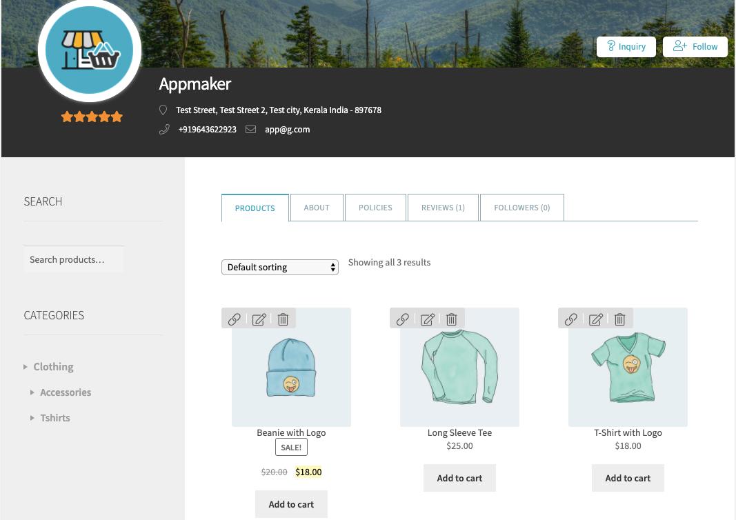 WCFM multivendor plugin - Product listing of a specific vendor
