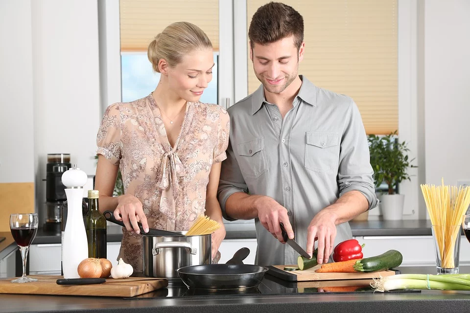 couple cooking meal
