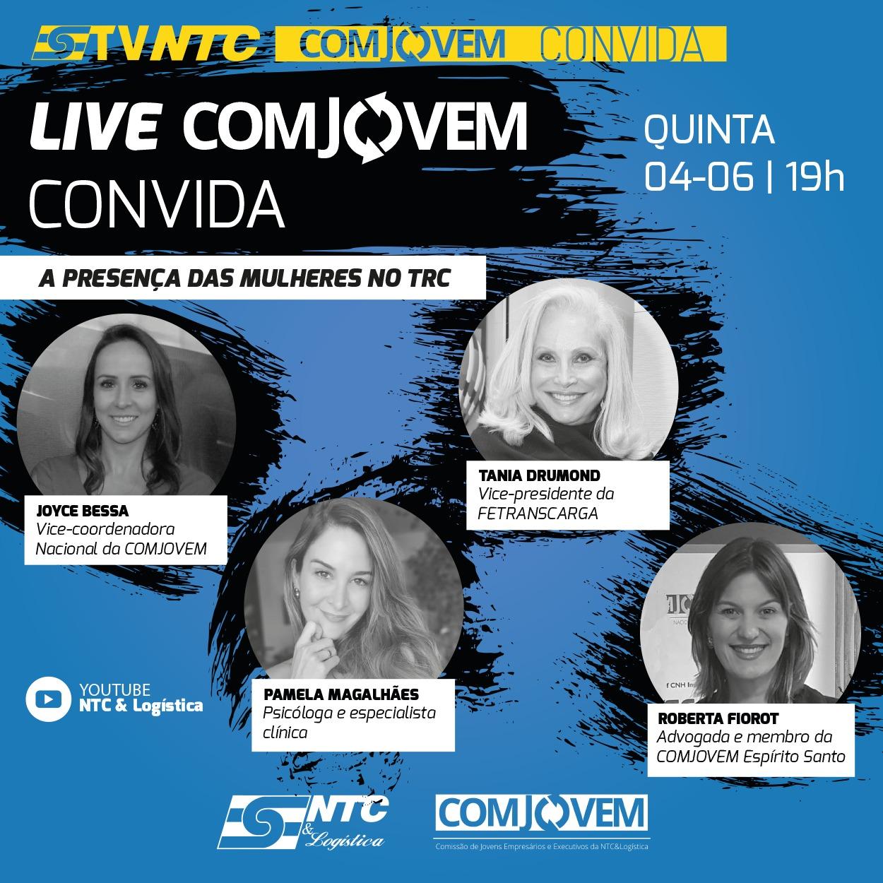 TV NTC apresenta hoje mais uma edição da LIVE 'COMJOVEM Convida' com mulheres do setor