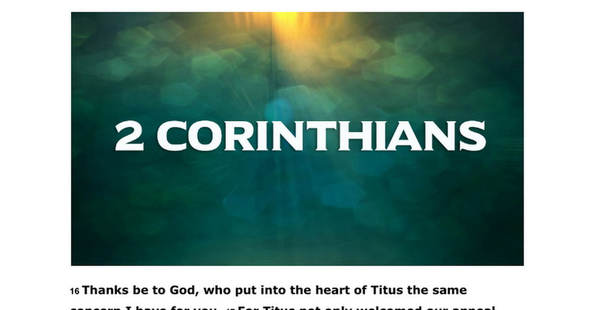 "Lesson 13: 2 Corinthians 8:16-9:5 ""Titus Sent to Receive the Collection"""