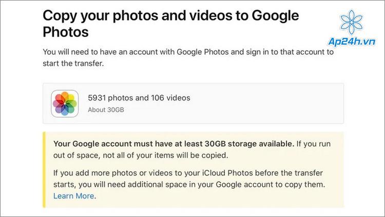 Để tránh mất dữ liệu, hãy đảm bảo Google Photos có đủ dung lượng