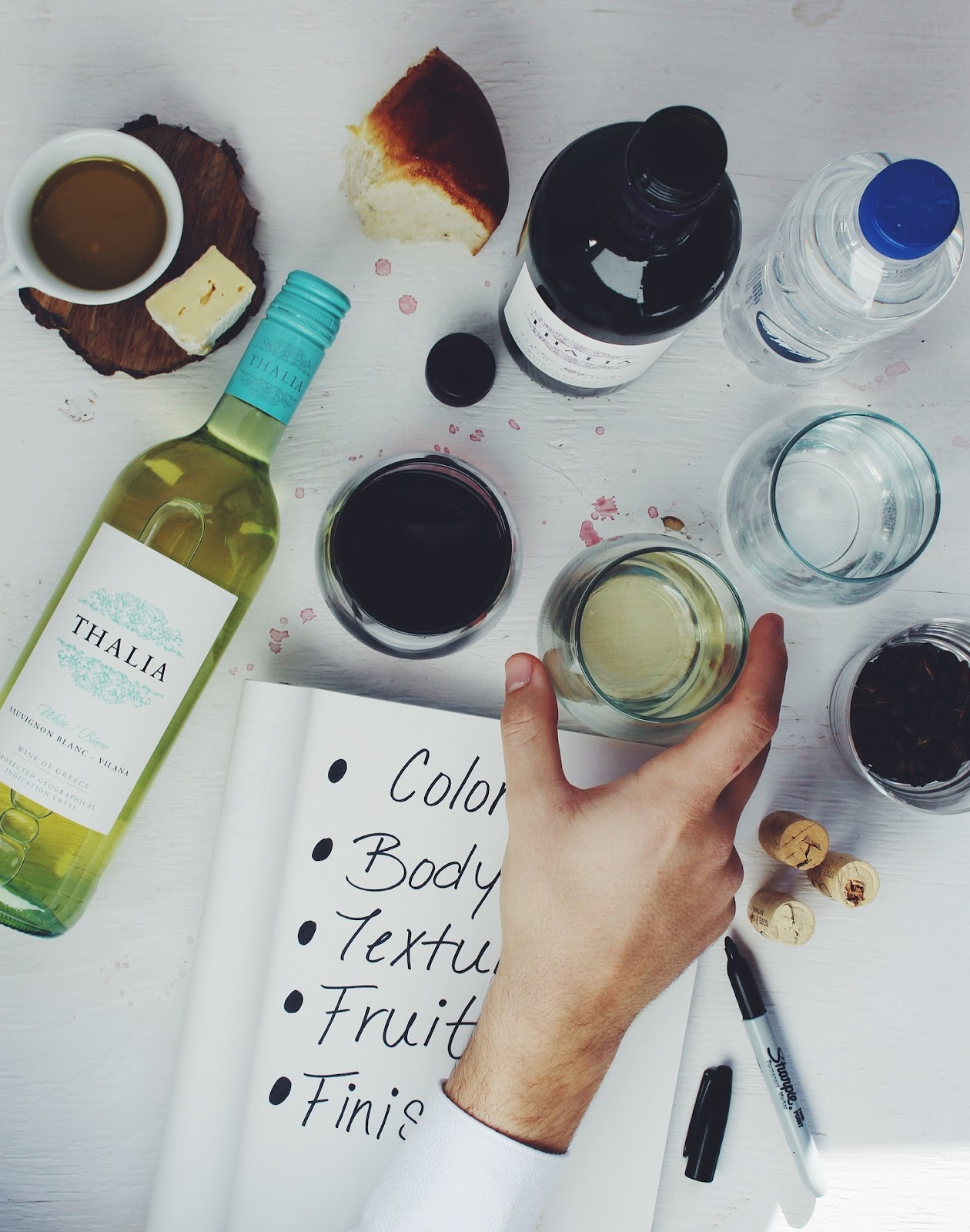Hand reading for a glass of wine; wine guide
