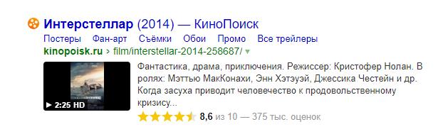 Микроразметка для сайтов кино в Яндексе