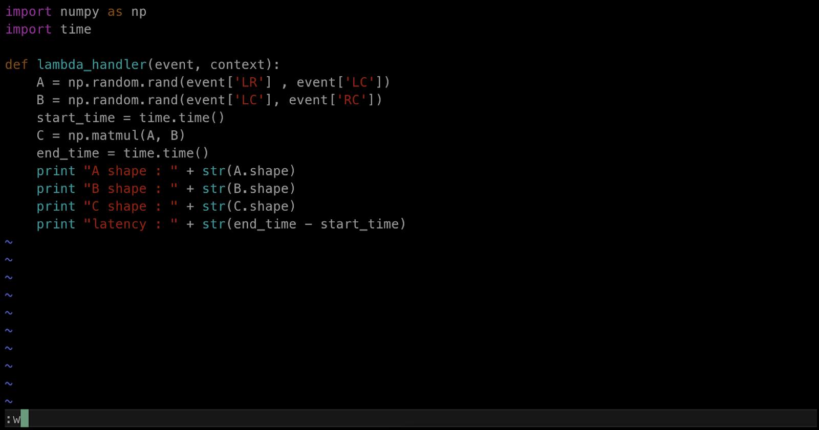 AWS Lambda Python 라이브러리 numpy 배포 패키지 만들기 matmul