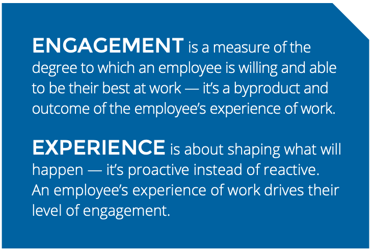ENGAGEMENT is a measure of the degree to which an employee is willing and able to be their best at work — it's a byproduct and outcome of the employee's experience of work. EXPERIENCE is about shaping what will happen — it's proactive instead of reactive. An employee's experience of work drives their level of engagement.