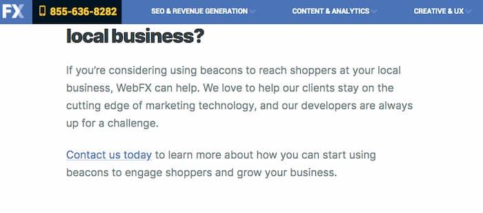 Ví dụ về cách WebFx yêu cầu người đọc thực hiện cuộc gọi để tìm hiểu thêm về cách họ có thể giúp tăng tỷ lệ chuyển đổi