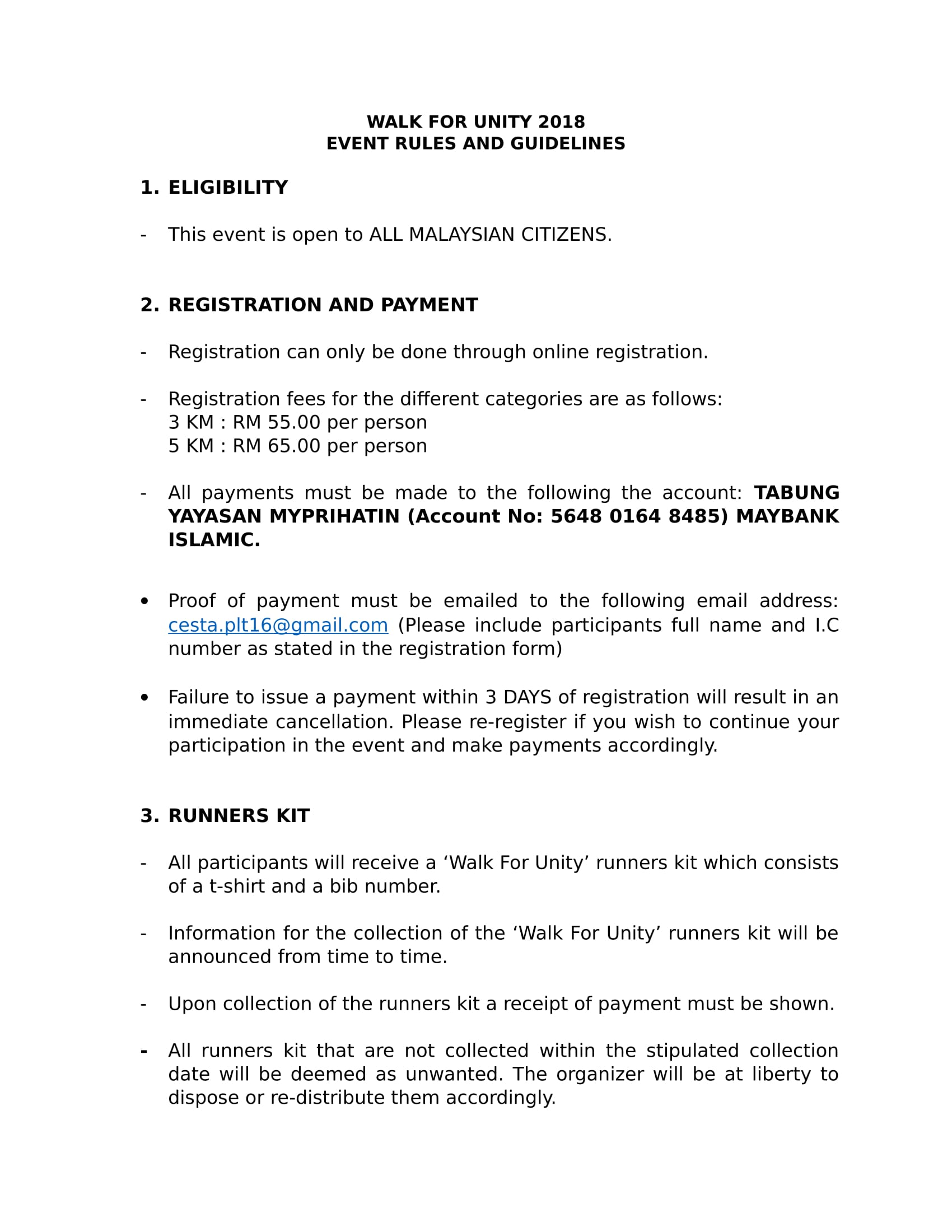 *Please take note in No.2; registration fees have been changed.