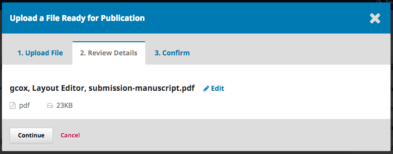 Step 2 of uploading file. Displays option to edit file name, Continue, or Cancel.