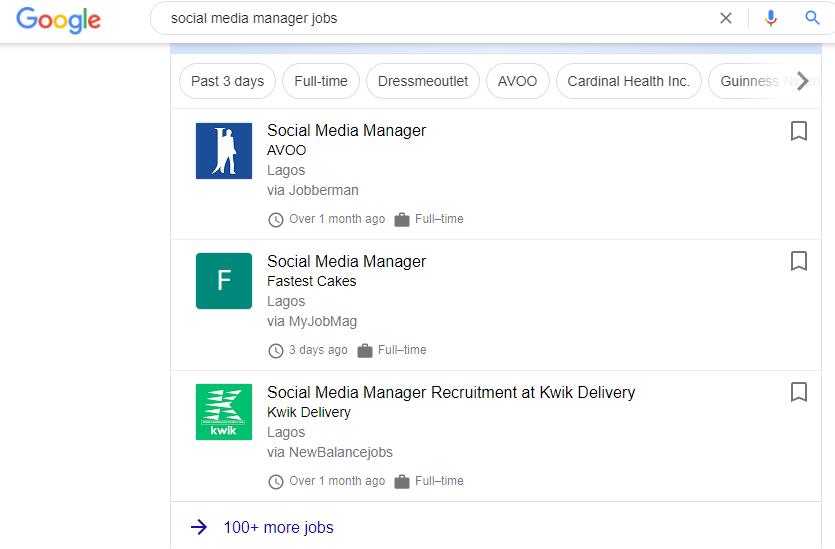 Example: social media manager jobs in Nigeria.