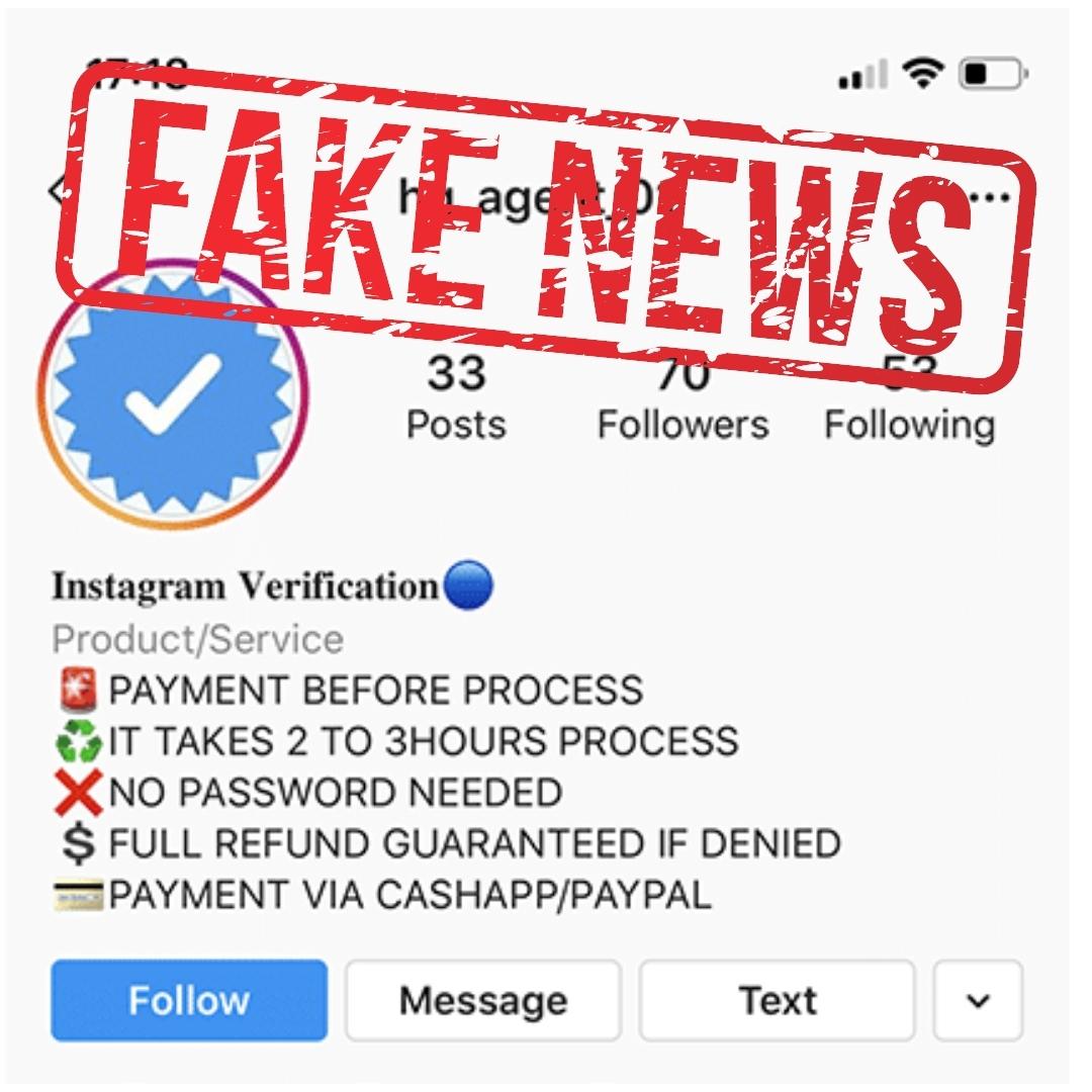 Instagram verification scams