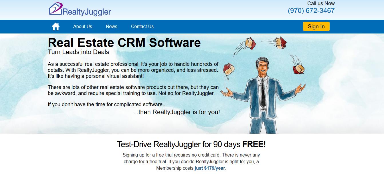 RealtyJuggler CRM software for real estate leads