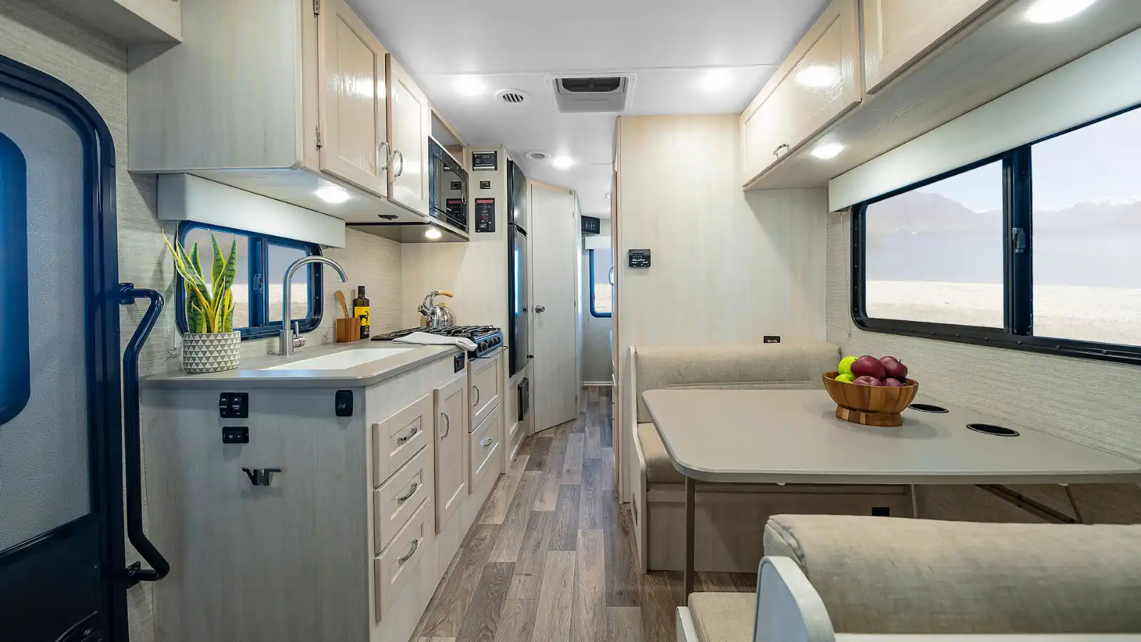Winnebago Outlook 22C or 22E interior pic affordable class c with counter space