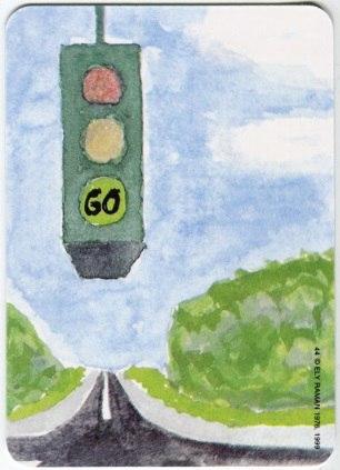 Карта из колоды метафорических карт Ох: светофор над дорогой