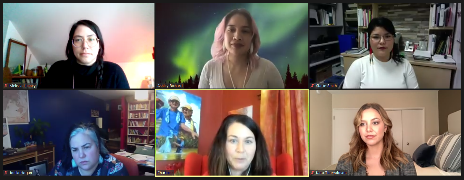 A screenshot of panelists Melissa Lunney, Ashley Richard, Stacie Smith, Joella Hogan, Charlene SanJenko, and Kara Thorvaldson, with Charlene speaking.