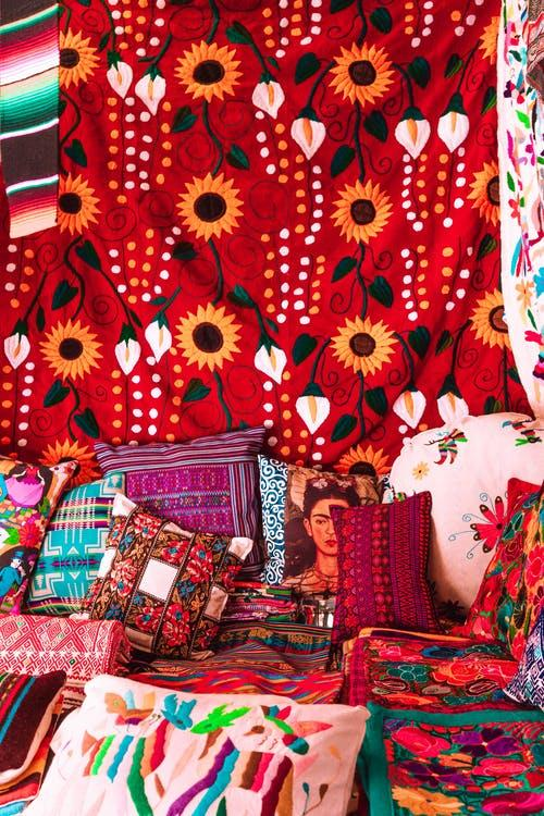 Red and White Floral Sofa
