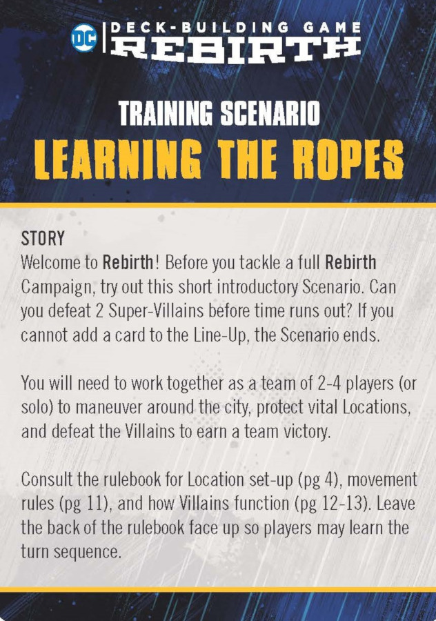DC Deck-Building Game: Rebirth Training Scenario