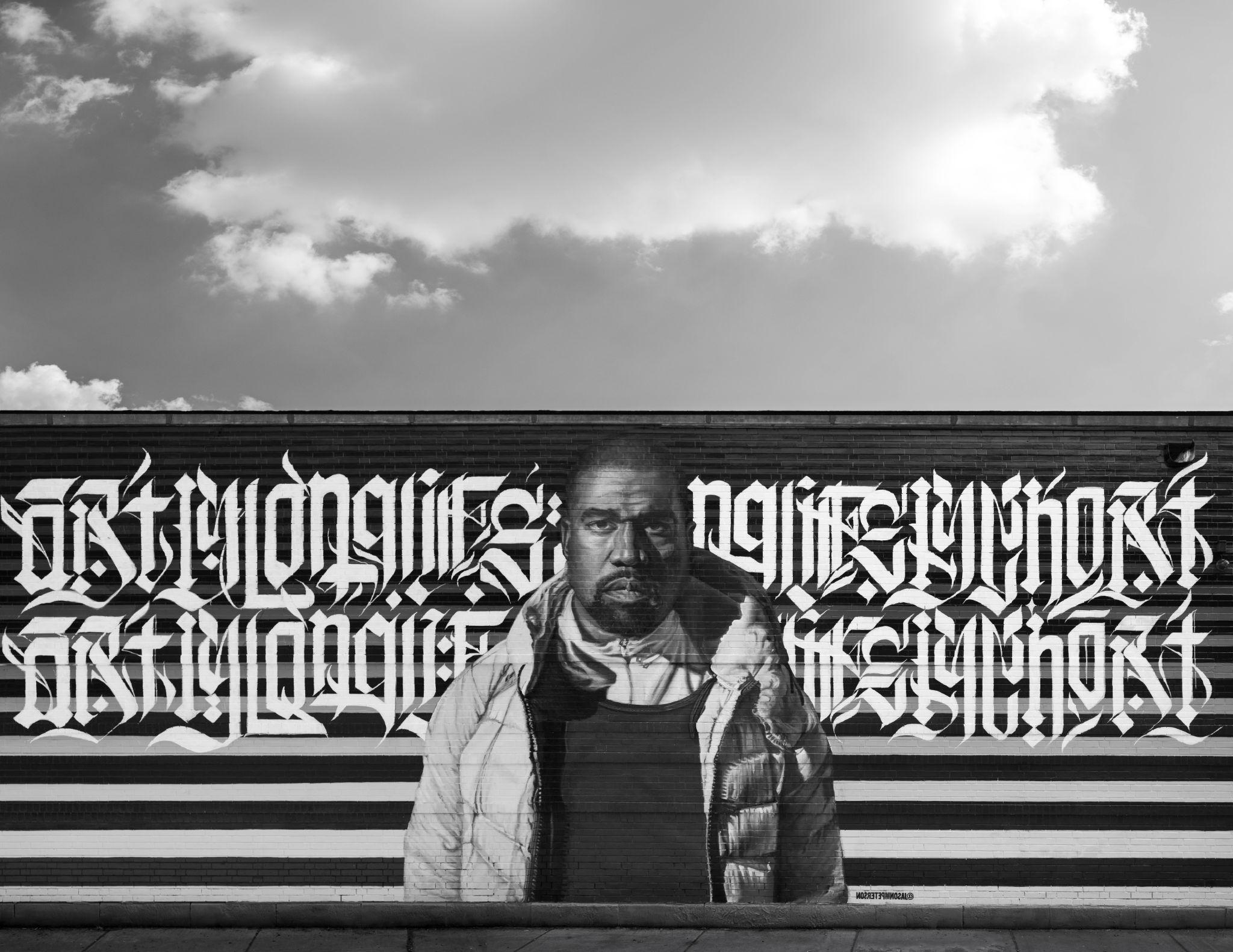 Jason Peterson fresque murale effigie Kanye West