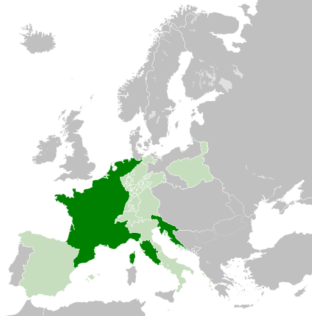 Napoleon's French empire stretching from Spain to Poland.