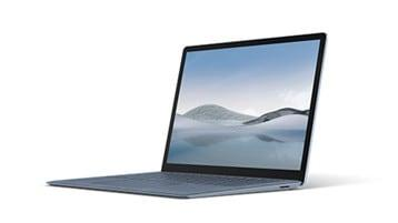 Surface Laptop 4 in metal ice blue from the side