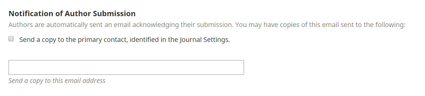 The Notification of Author Submission settings in OJS.