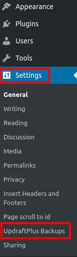 updraftplus wordpress settings