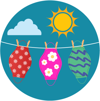 illustration, cloth masks hanging on a clothes line