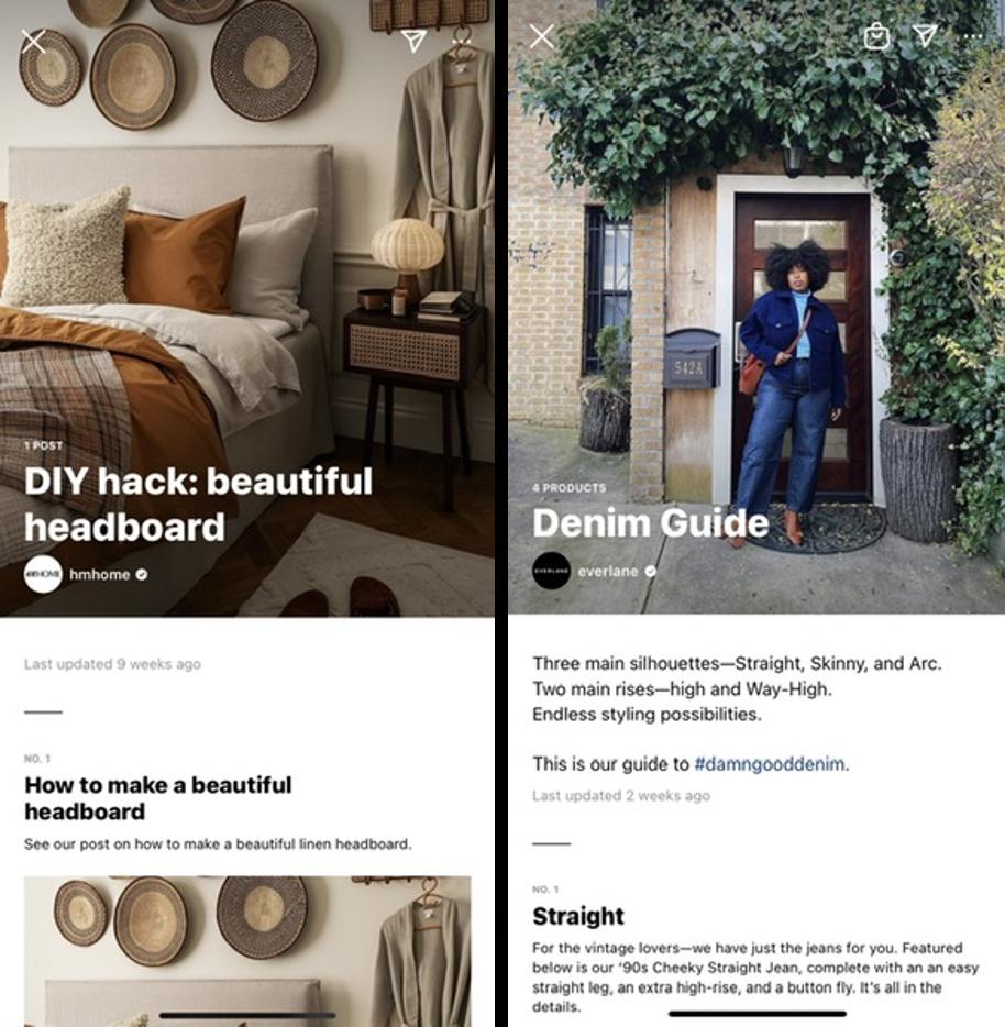 Zrzuty ekranu z Katalogów Instagrama