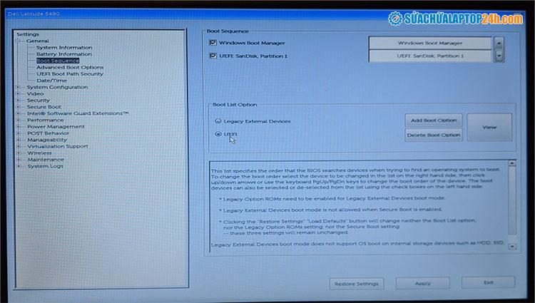 Bật chế độ UEFI trong BIOS