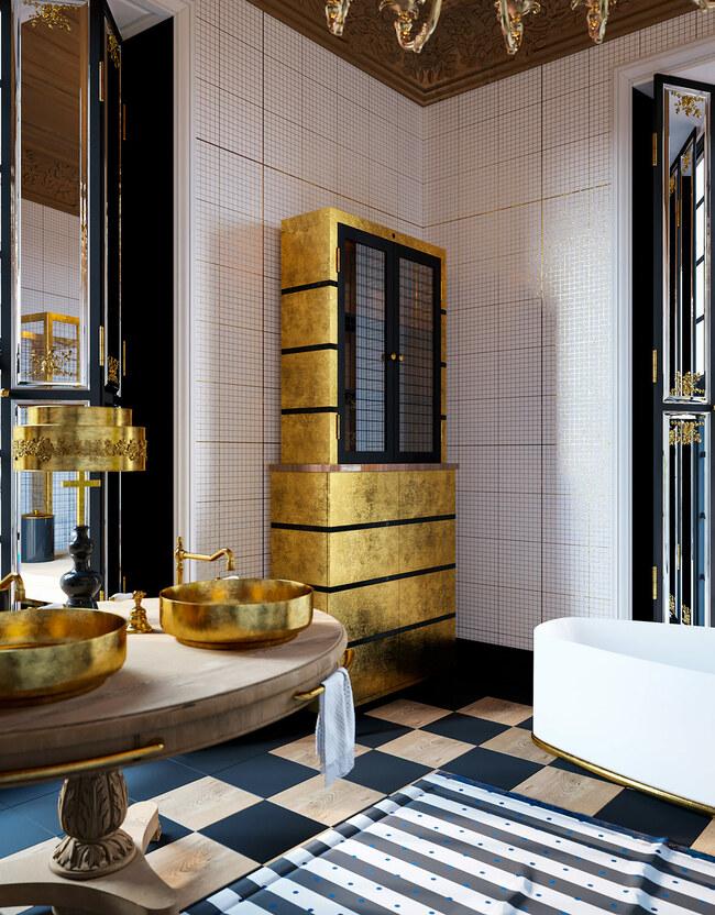 Các cánh cửa của chiếc tủ đồ tắm được làm bằng gương để có thể thay thế chiếc gương quen thuộc trong các phòng tắm.