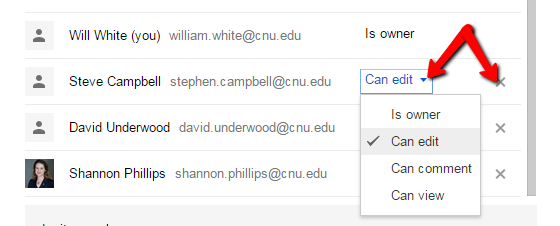 Google Docs Share Access Levels