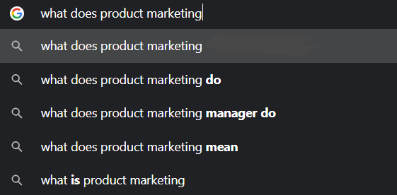 """The results of """"product marketing"""" search on Google"""