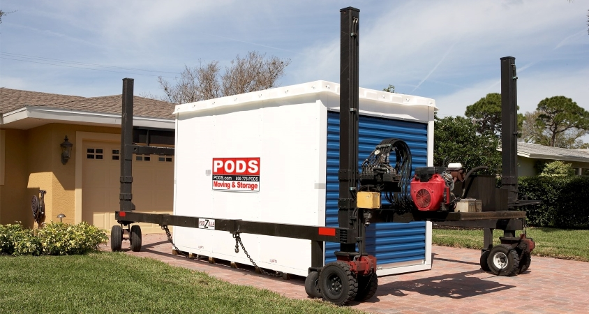 PODS portable storage container in driveway