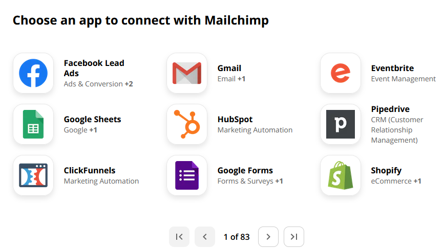 Connect mailchimp with zapier