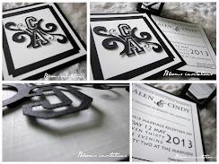 swirl monogram wedding invitation