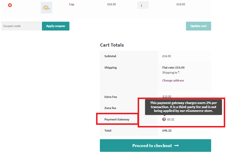 An example view of how Extra fees for Payment Gateways will look in a WooCommerce store