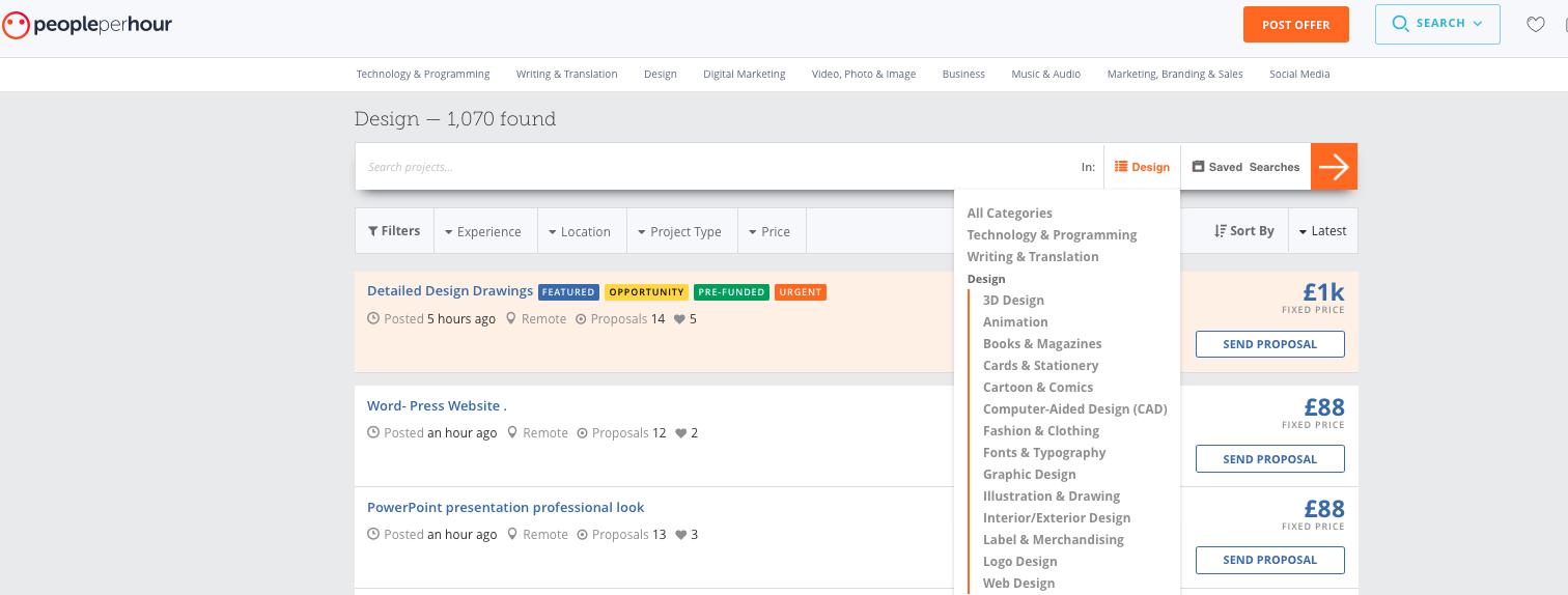 Screenshot of different design jobs on PeoplePerHour