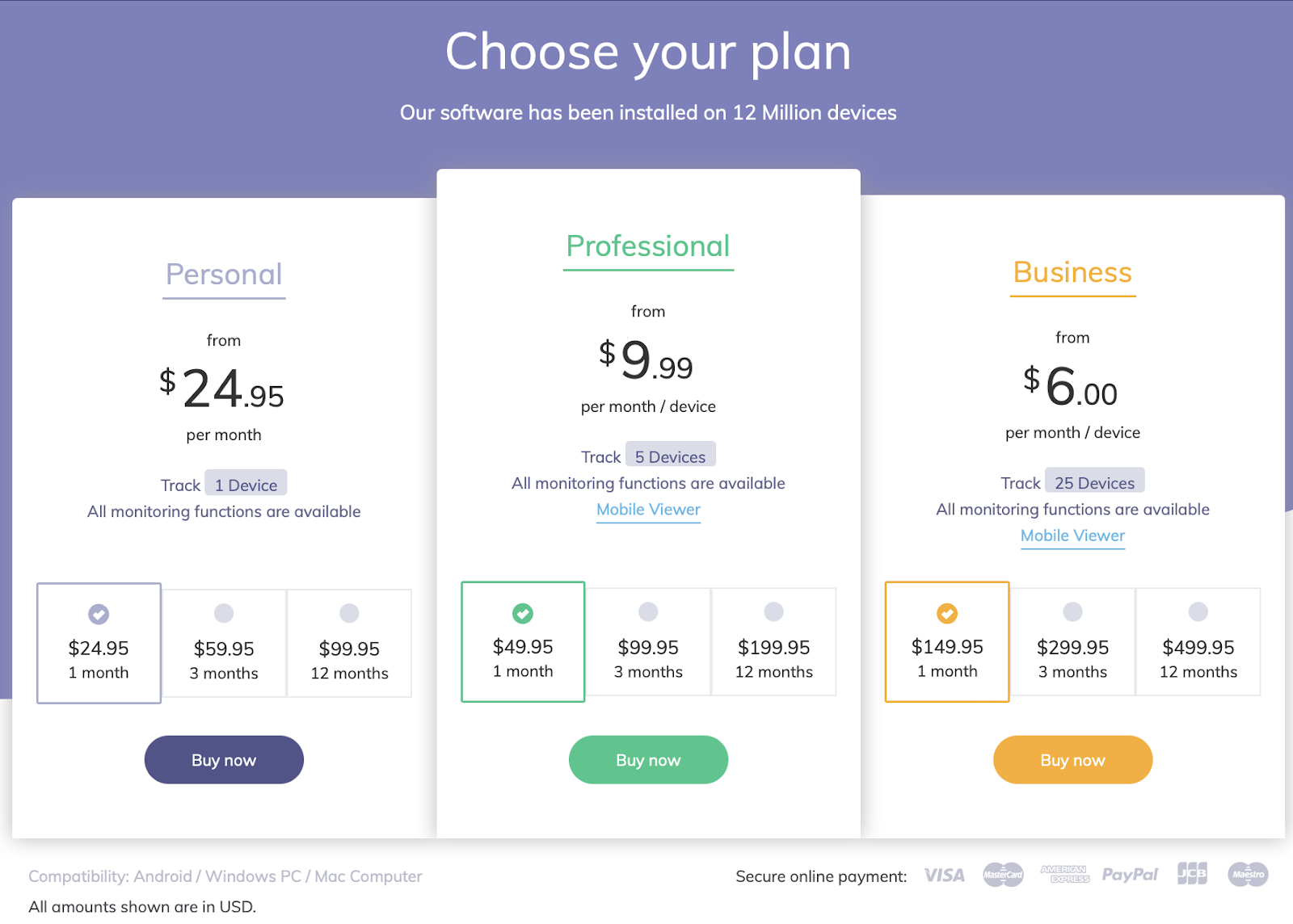 Hoverwatch Paid Plans