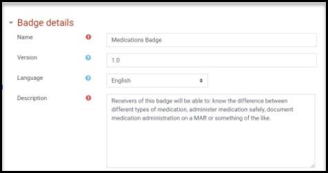 Screenshot of Badge details screen