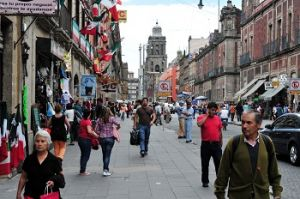 Mexicans on the street, somewhere in the historic center of Mexico City