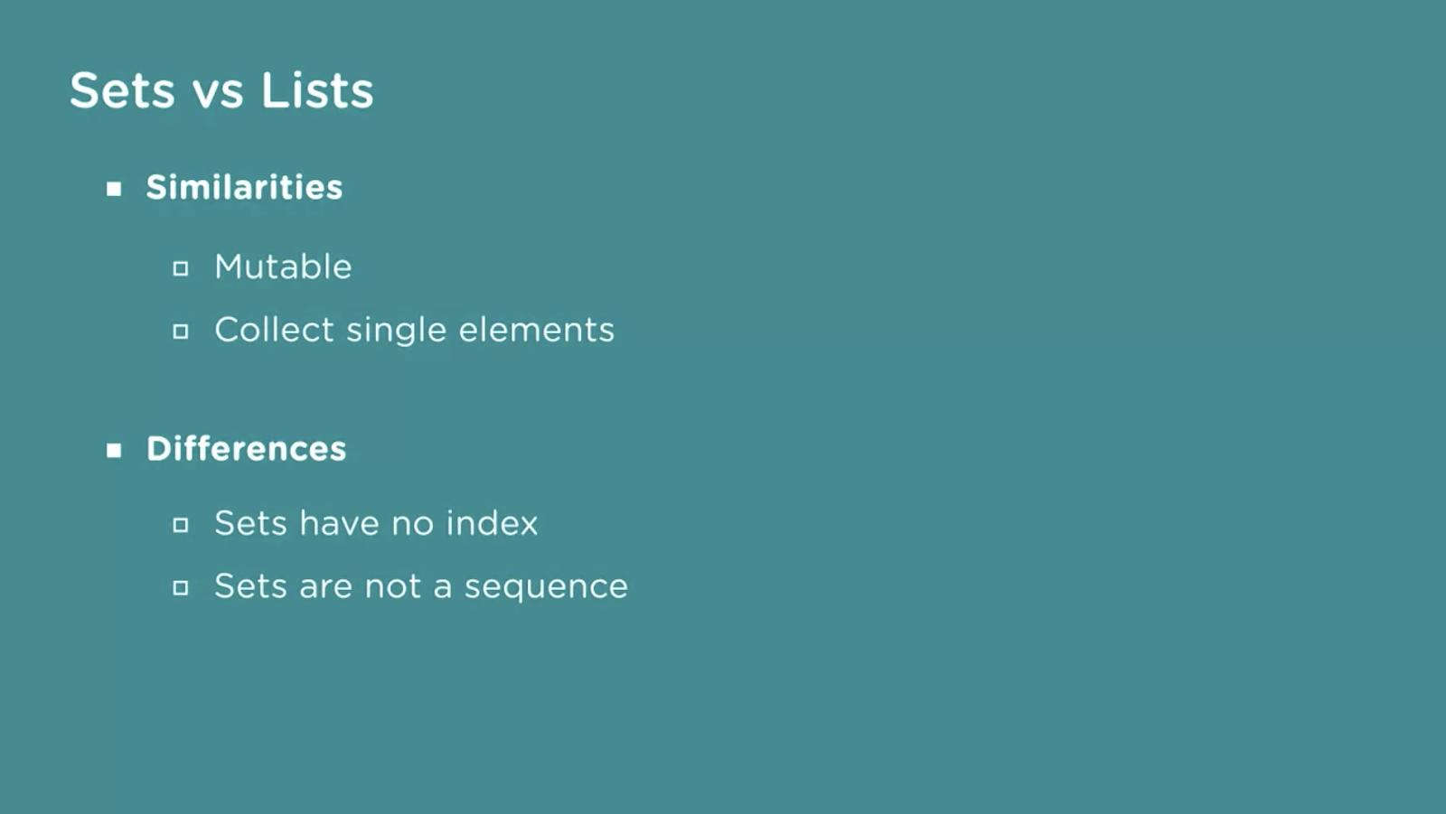 使用点符号列出Python集和列表之间的异同点的图形。