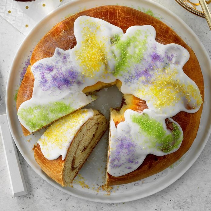 King cake served on a plate