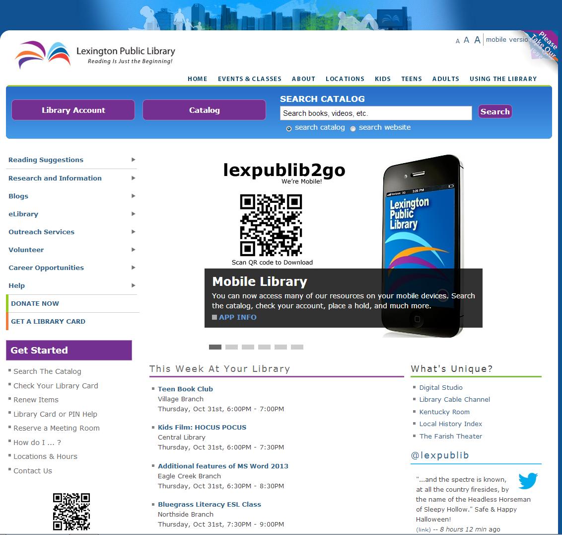 Lexington Public Library Website Promotion Example