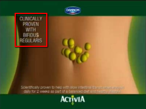 dannon ad promoting clinically proven formula.