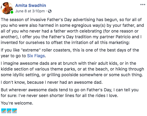 FB post of Amita Swadhin about rollercoasters