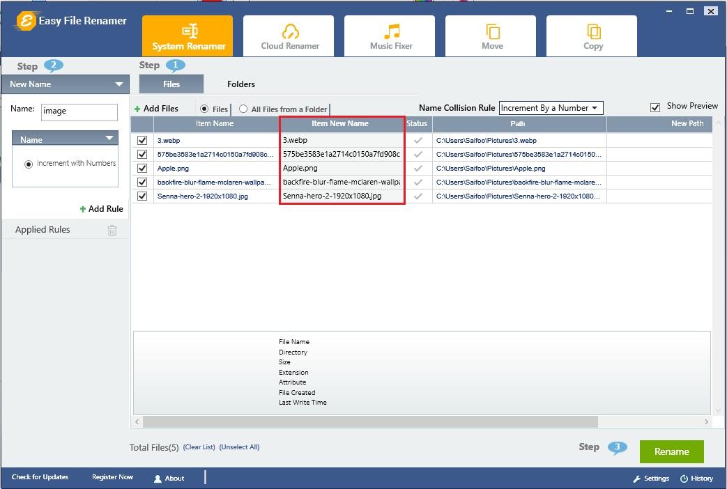 Perform rename printer files task