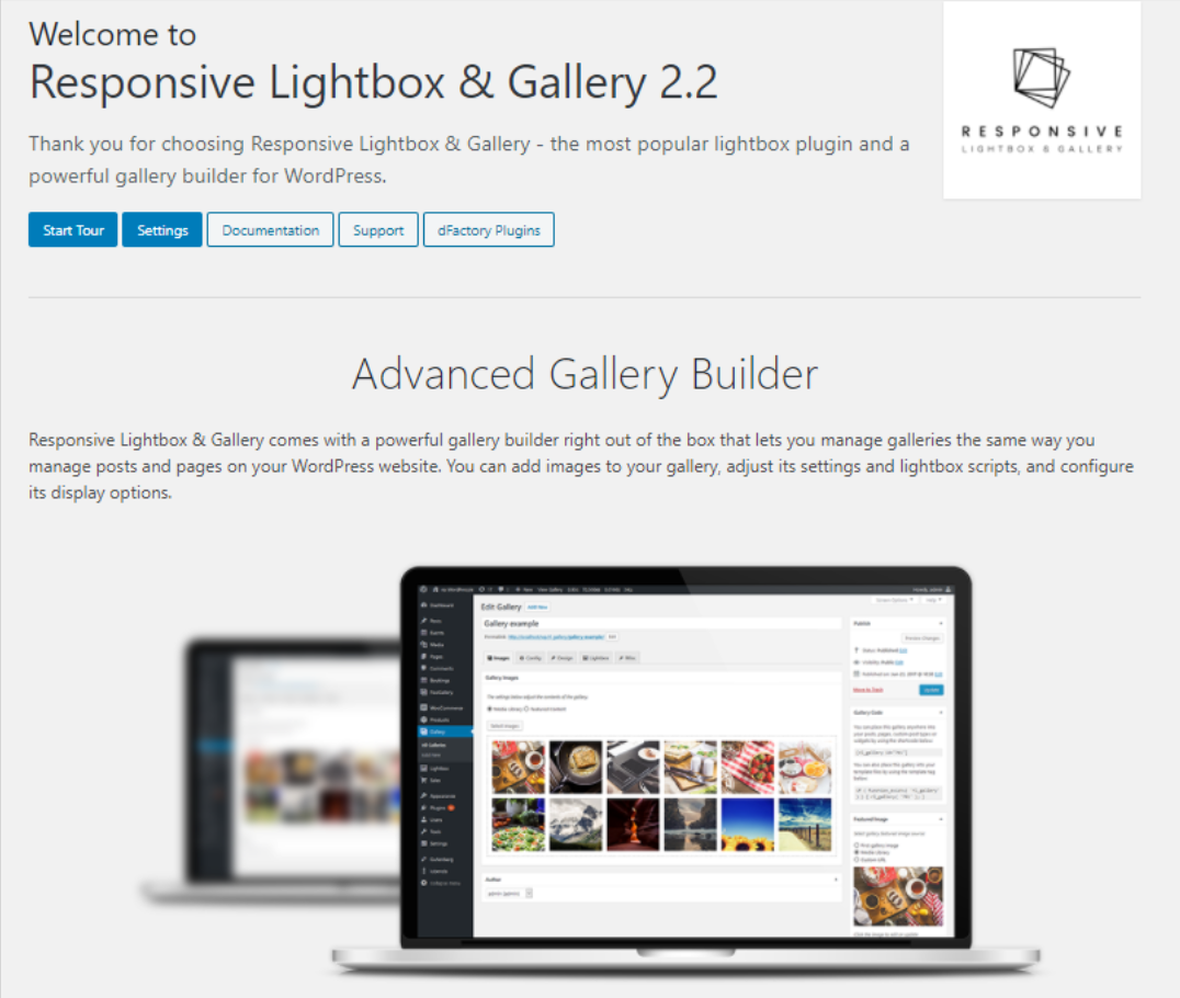 A screenshot of the welcome screen for Responsive Lightbox & Gallery.