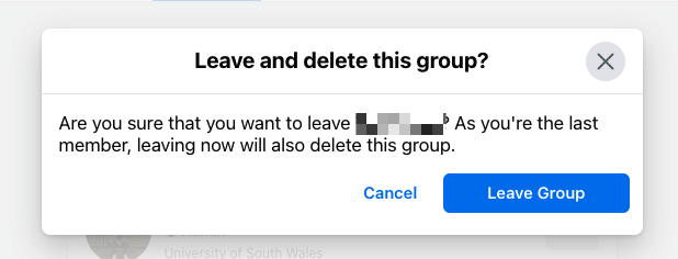 Screenshot of Facebook Group deletion as last member
