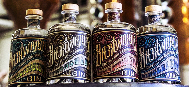All Of Backwards Distilling Company's Craft Spirits Except Milk Can Moonshine