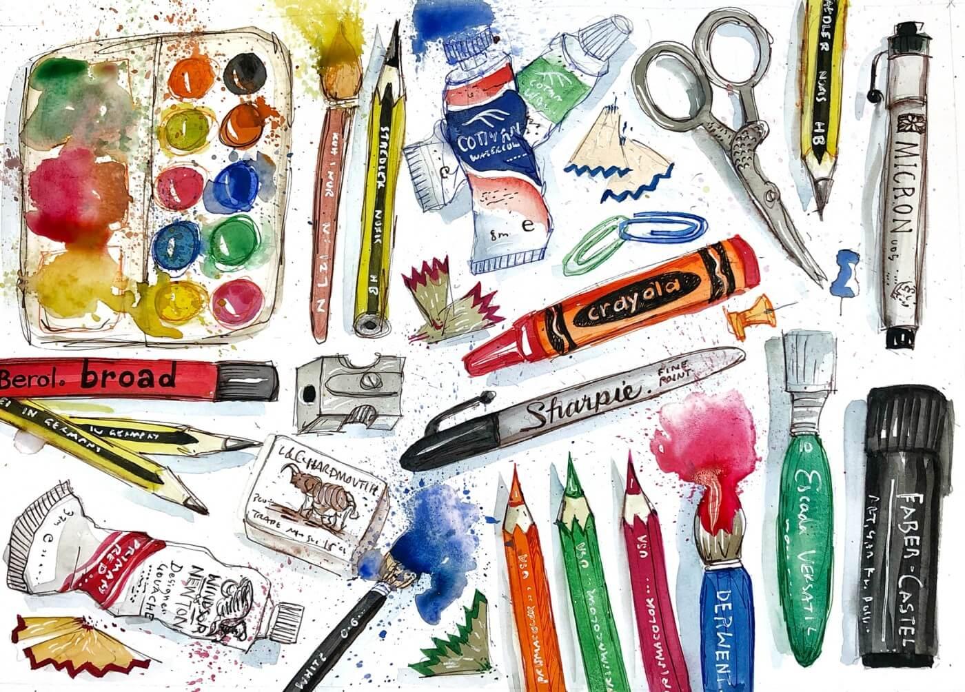 Màu vẽ là một trong những công cụ ứng dụng phương pháp vừa học vừa chơi cùng con